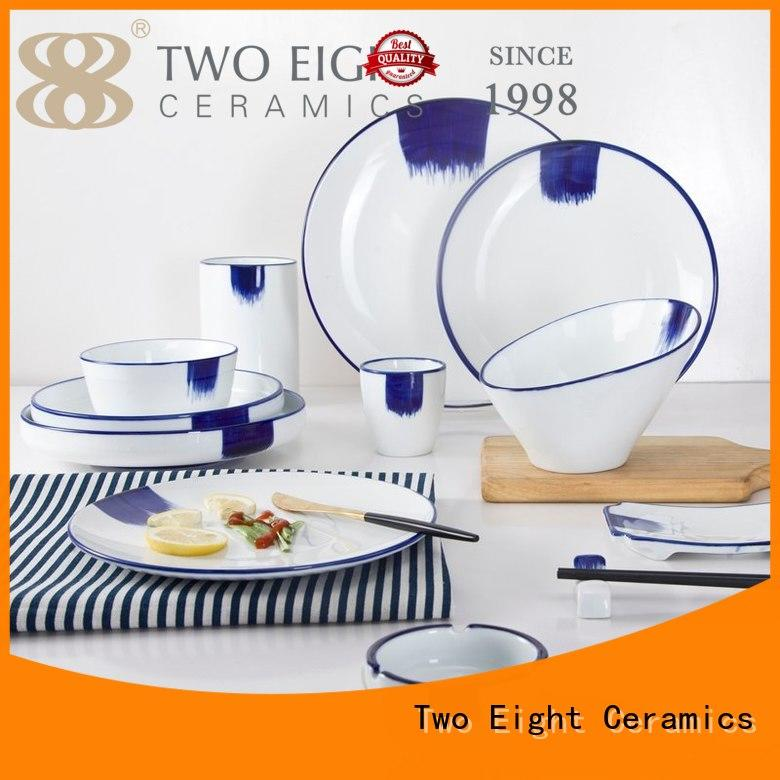 Two Eight mixed restaurant grade plates from China for hotel