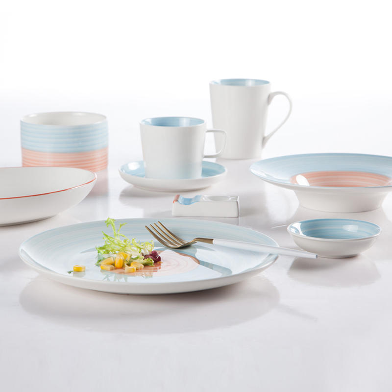 French Style Embossed Decal Round Color Porcelain Dinner Set  - TC04