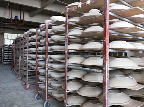 Porcelain tableware manufacturing process - drying