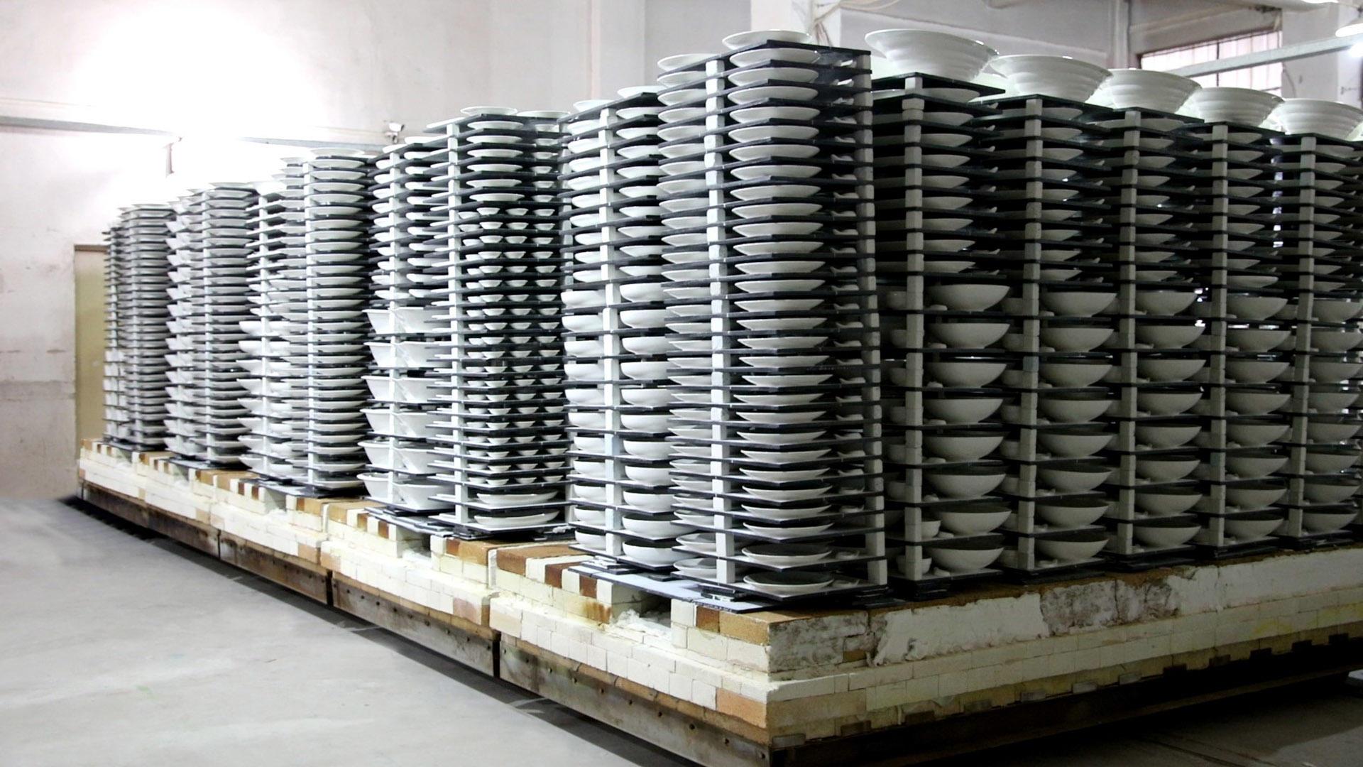 Ceramic factory: a car kiln can burn thousands of ceramic wares