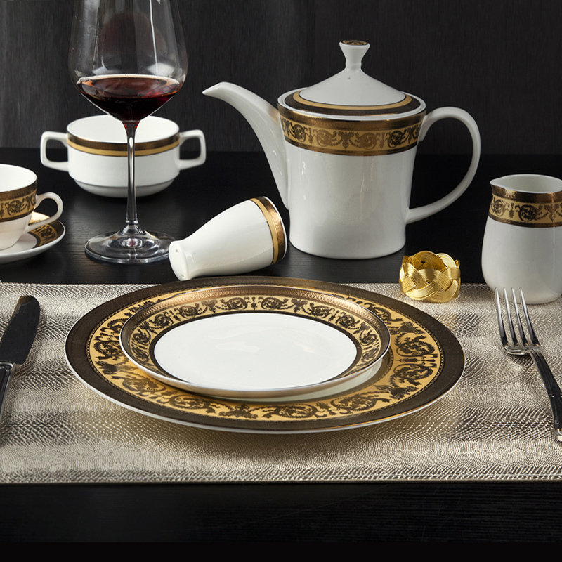 Classic Style Fine Porcelain Dinnerware with Embossed Decal - TD05