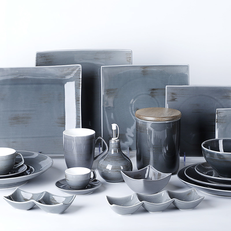 Time Imprint Collection (Dark Gay)- 2021 Color Glazed Dinnerware for Hotel, Restaurant and Cafe