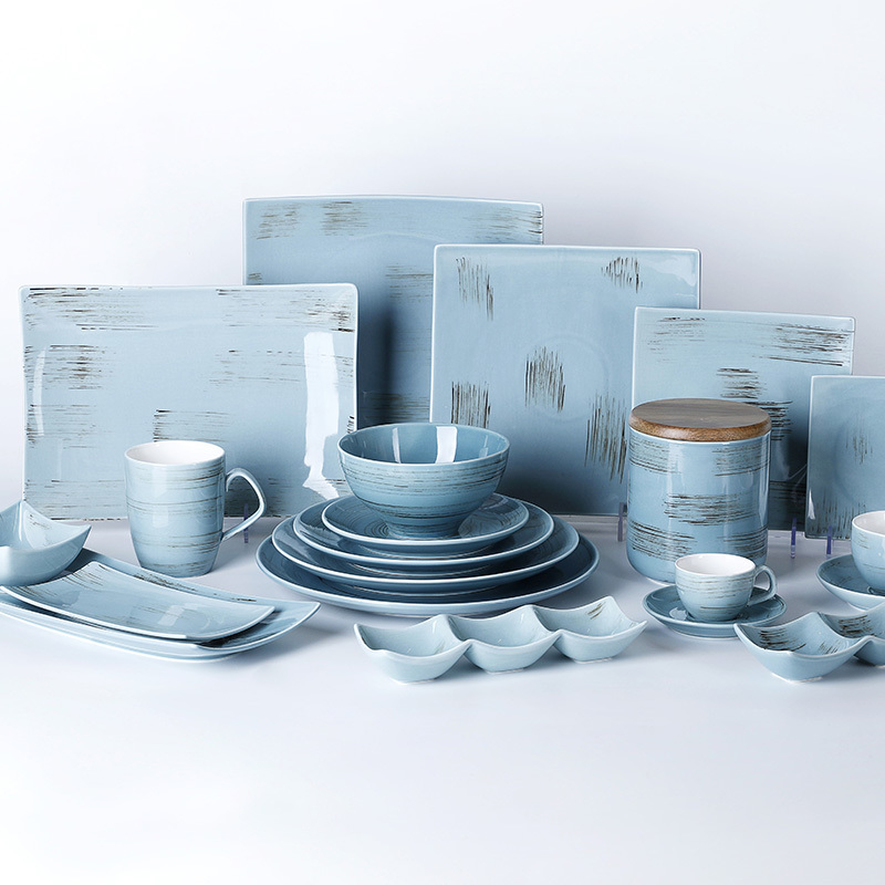 Time Imprint Collection (Blue)- 2021 Color Glazed Dinnerware for Hotel, Restaurant and Cafe