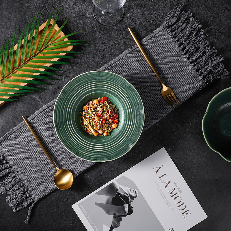 QINGLI Collection - The color of the green series showed the fancy style of tableware. The texture collection is the interpretation of modern Asia and the new generation of dinnerware art. You deserve the fancy tableware.