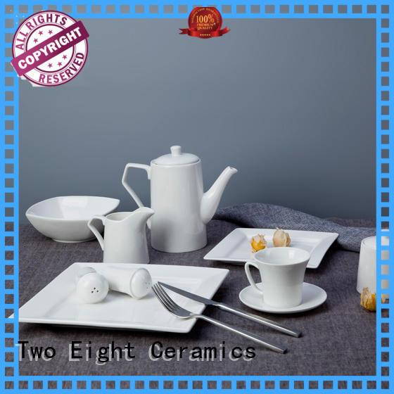 Two Eight royal plain white dinner set sample for dinner