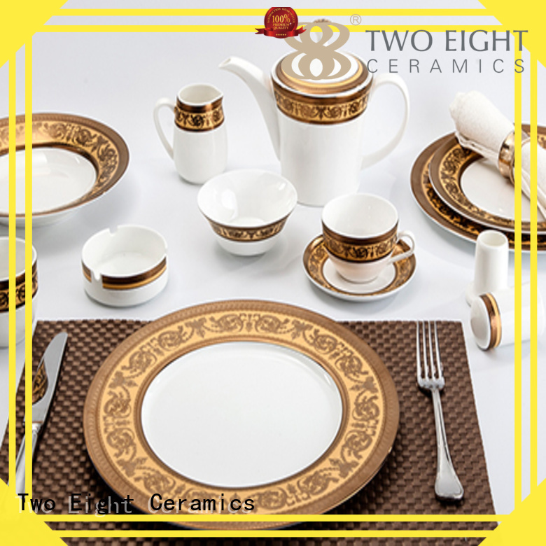 fashion royalty embossed Two Eight Brand fine white porcelain dinnerware factory