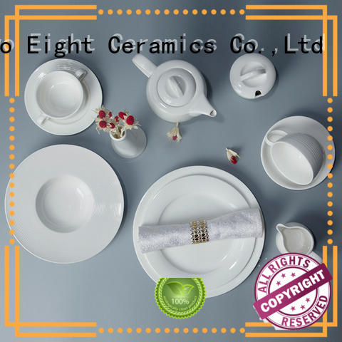 Two Eight German style custom restaurant dinnerware customized for dinning room