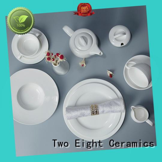 Two Eight bulk white restaurant dishes customized for dinner