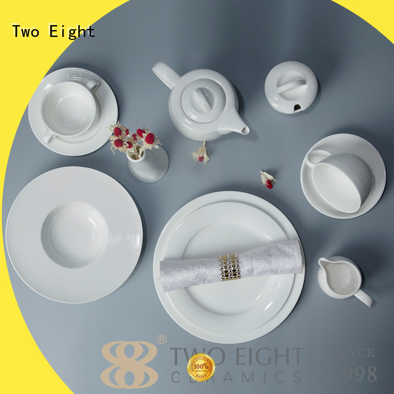 Two Eight royal french white porcelain dinnerware sample for hotel