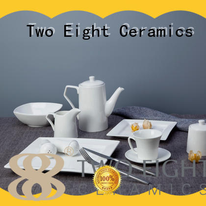 bulk white porcelain dinner service from China for hotel Two Eight