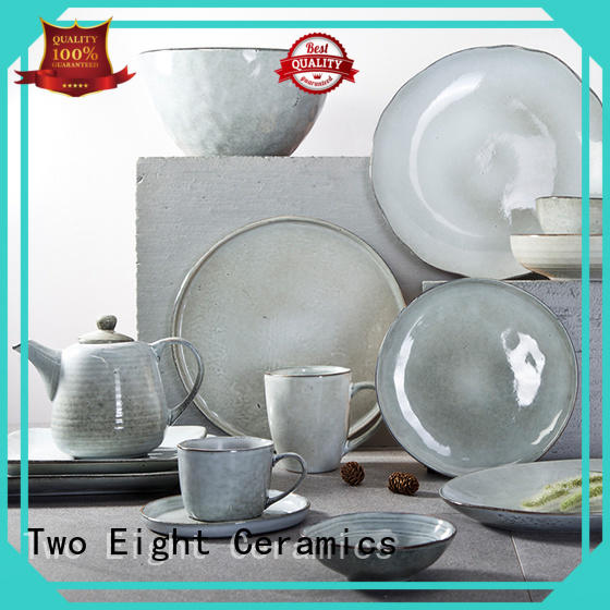 Two Eight german style unbreakable restaurant plates customized for kitchen