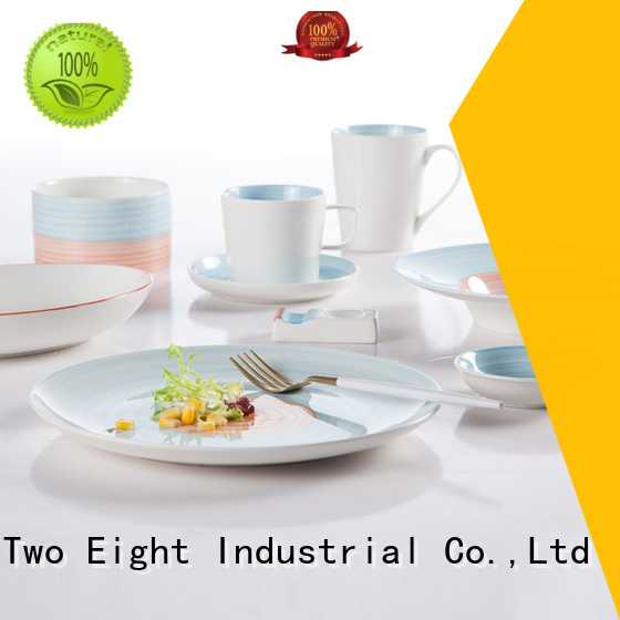 16 piece porcelain dinner set smooth decal Two Eight Brand two eight ceramics